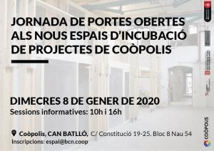 Oberta la convocatòria de projectes de l'ESS per allotjar-se a Coòpolis: fins el 13 de gener del 2020.